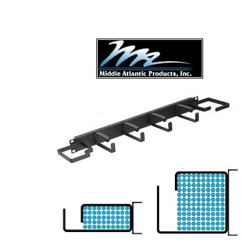 Picture of Middle Atlantic HCM-1DV 1U D-Ring Style Horizontal Cable Manager w/ End Rings